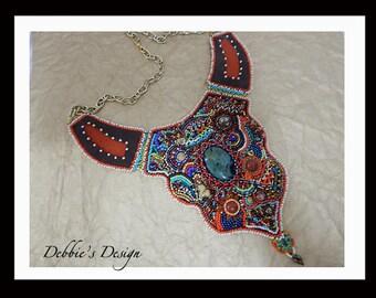 Women's Hand Beaded Necklace-446 Handmade Beaded Necklace, Beaded Necklace, Bead Embroidery, Aqua and Gold, Women fiber necklace