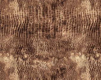 "Worn Croc, Brown crocodile print fabric - Tim Holtz Eclectic Elements Fabric - 44"" 100% Cotton"