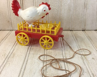 Vintage 1967 Ideal Plastic Chicken Pull Toy