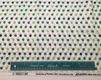 Classic ST. PATRICKS DAY Four Leaf Clover cotton fabric Spring print 1 yard