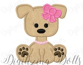 Puppy Dog Girly Girl Bow Applique Machine Embroidery Design 4x4 5x7 6x10 INSTANT DOWNLOAD