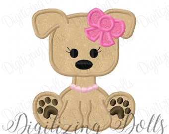 Puppy Dog Girly Girl Bow Applique Machine Embroidery Design Digital File 4x4 5x7 6x10 INSTANT DOWNLOAD