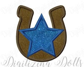 Horseshoe Star Applique Machine Embroidery Design 4x4 5x7 6x10 Western INSTANT DOWNLOAD