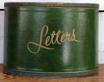 Vintage Midcentury Green Letter Holder or Office Desk Basket