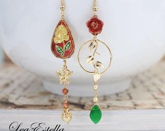 Red Asymmetrical Earrings Red Floral Earrings Butterfly earrings Cloisonne earrings Lunar New year mismatched earrings - Chinese Garden