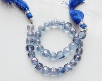 6pcs  Mystic Blue  Quartz Faceted 3D Cube beads ( 7-7.5mm)