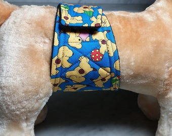 Belly Band Waist 13.00 x Width 3.50 inches Male Dog Wrap Diaper Belt by SewDog 3 Layers Quilted Padded Wrap #85 PUPPIES