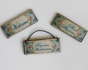 Miniature Shabby Welcome Signs for Dollhouse Wall Choose One