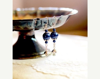 40% OFF CHRISTMAS SALE Royal blue pearl and sparkling silver toned dangle bead earrings, On This Clear Evening