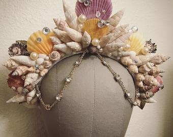 Queen of the Sea - Mermaid shell Crown - Gold Rhinestone dangling headdress headpiece Unique vintage ocean siren photoshoot fascinator crown