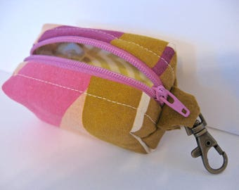Tiny Zippered Fabric Boxy Keychain Bag Coin Purse Wallet in Pink Brown Geometric Print Chevron