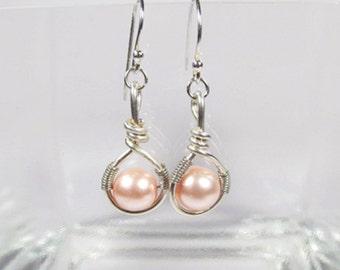 Pink Pearl Earrings-Pink-Sterling Silver-Drop Earrings