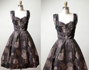 1950s Rose Print Dress / 50s Samuel Winston Dress