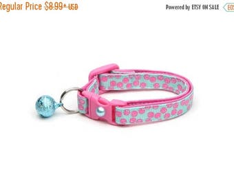 ON SALE Polka Dot Cat Collar - Pink Dots on Aqua Blue- Breakaway Cat Collar - Kitten or Large size