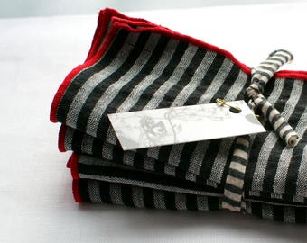 """large 18"""" striped dinner napkins  red, black and white 100% linen set of six"""