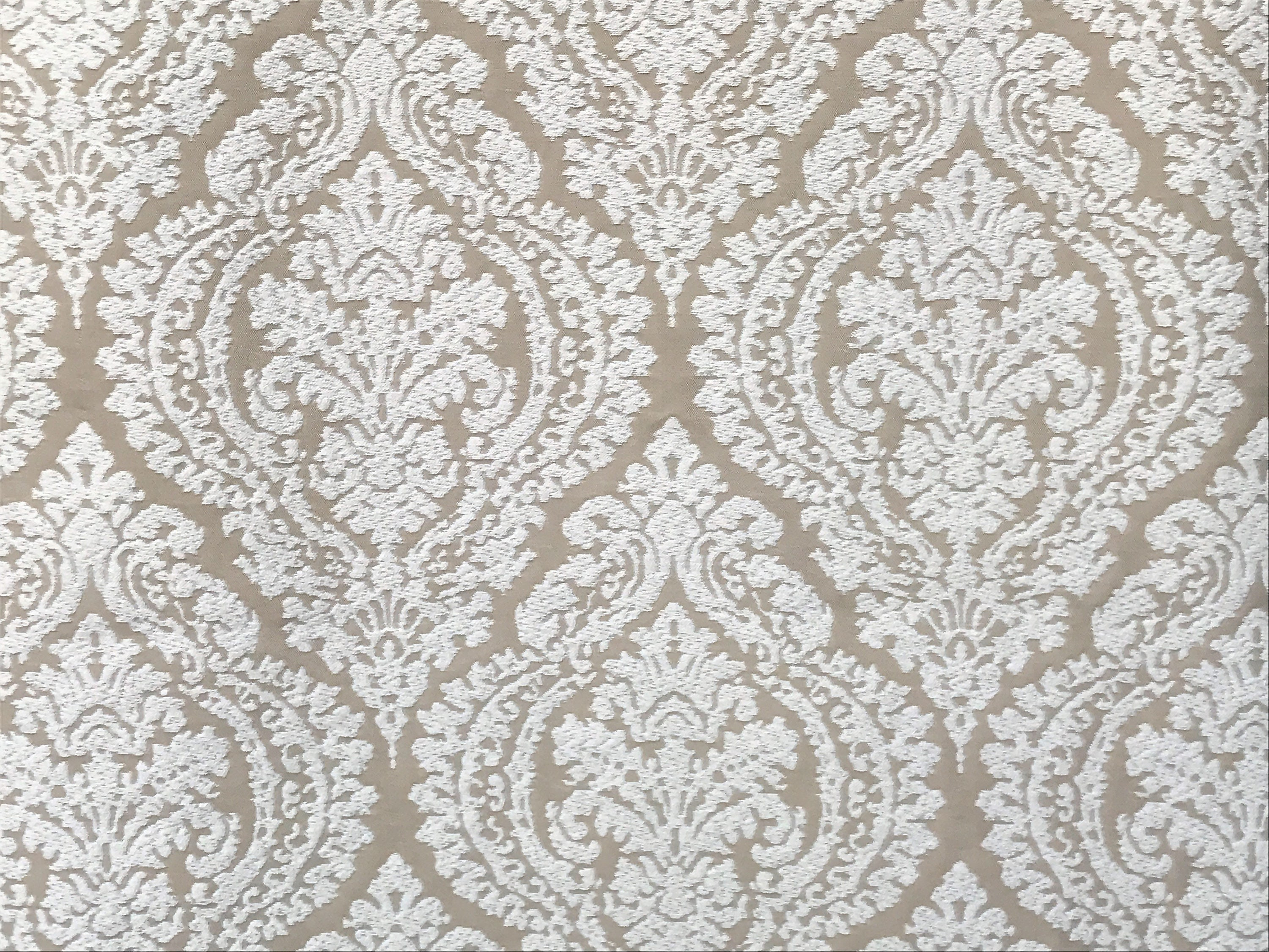 Champagne And Ivory Damask Curtain Fabric By The Yard Upholstery ...