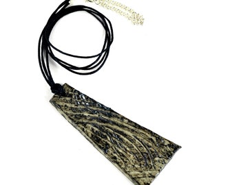 Ceramic Pendant Swirling Textured Necklace Black Gray Tones Handmade Statement Ceramic Jewellery on Waxed Cotton Cord