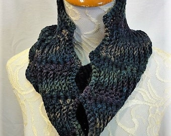 hand dyed in Montana wool silk cowl dark blues, dark teal,purple and touches of tan