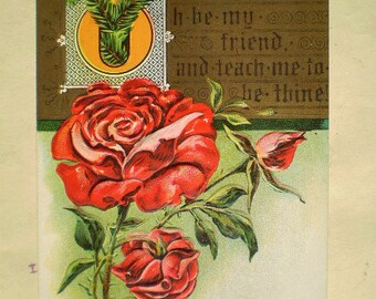 Oh Be My Friend And Teach Me To Be Thine - Early 1900s - Antique American Postcard - Red Roses