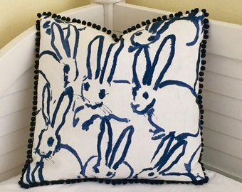 Lee Jofa Groundworks Bunny Hutch in Navy Designer Pillow Cover with Small Pom Pom Trim - Square, Lumbar and Euro Sizes