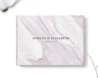 Simple wedding guest book, Landscape or Portrait, Wedding guest book, Purple Marble gb0115