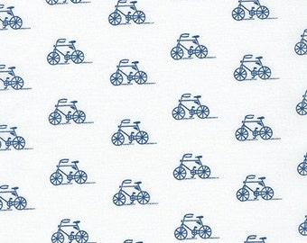 Laminated Cotton Fabric, Blue Bicycle Laminated Fabric, Robert Kaufman Fabrics, BLUE by Sea Urchin Studio from London Calling Slicker