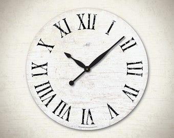 LONDON - 23in Large Wall Clock. White & Black with Roman Numerals. Rustic Decor. Rustic Clock. Custom Clock. Office Decor. Kitchen Clock
