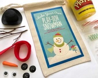 Stocking Stuffer, Kids Stocking Stuffer, Christmas Gift, Christmas Gift Bag, Christmas Party Favor, Snowman Kit, Play Doh Snowman Kit