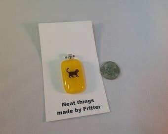 Fused Glass Cat pendant, C3