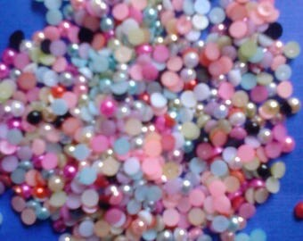 Random mix colors faux pearl flatback decoden Deco diy craft 4 mm  more than 100 pcs---USA seller