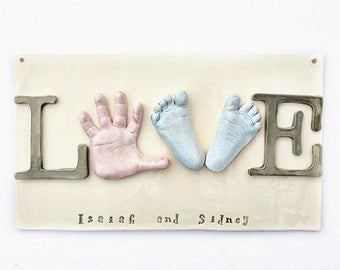 """Sibling Wall Art - Baby Hand and Footprint Love Plaque - """"LOVE"""" Wall Decor for Siblings  - Personalized Keepsake Gift - Family Keepsake"""