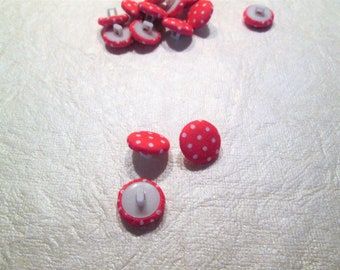 15 piece polka dot, fabric covered buttons, tropical pink