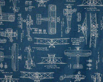 Airplane blueprint etsy for Airplane fabric by the yard