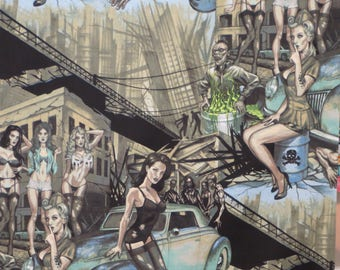 Dusty Aqua and Gray Zombie Apocalypse Print Pure Cotton Fabric--By the Yard