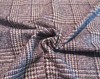 Chunky Navy and Cream Glen Plaid Wool Blend Fabric--By the Yard
