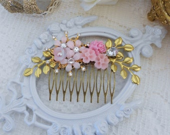 Gold Hair Comb, Floral Hair Comb, Assemblage Hair Comb, Wedding Headpiece, Gold Leaf Hair Comb, Collage Hair Comb, Vintage Bride, Pink Comb