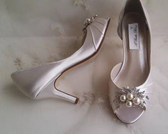 White or Ivory Wedding Shoes White or Ivory Bridal Shoes with Pearls and Crystals  or PICK FROM 100 COLORS Bridesmaid Shoes