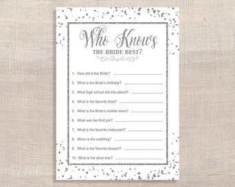 Who Knows The Bride Best Shower Game, White & Silver Glitter Confetti Wedding Shower Game, DIY Printable, INSTANT DOWNLOAD