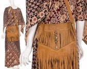 AUTHENTIC Rare 70's Leather Fringe Bohemian Crossbody Purse Cognac Brown Boho Double Fringe Handbag