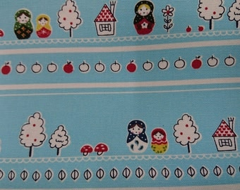 """Apple,matryoshka doll,mushroom - 1 yard - cotton linen - 3 colors - fabric,Russian, Check out with code """"5YEAR"""" to save 20% off"""