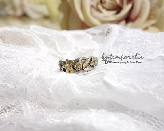 Bicolore bronze and champagne cubic zirconium ring, french size 51, OOAK, SABA39