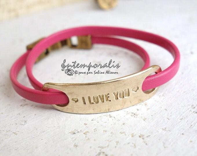 Bronze and fushia leather bracelet, I Love You, OOAK, SABR25