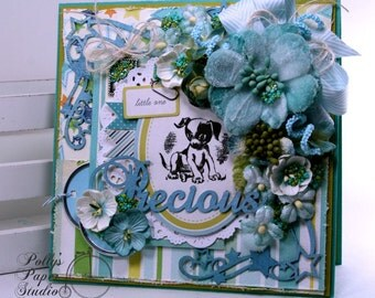 Precious Baby Boy Greeting Card for Shower or Birthday Polly's Paper Studio Handmade