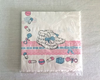 Vintage 1950s Baby Shower Napkins, New in Package, never opened
