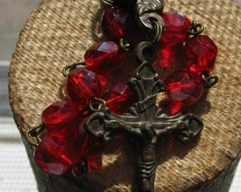Vintage Cross and Ruby Red Beads from Rosary Women's Ladies