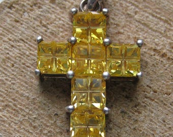 Vintage Sterling Silver and Yellow Citrine Stone Cross Pendant for Women Ladies