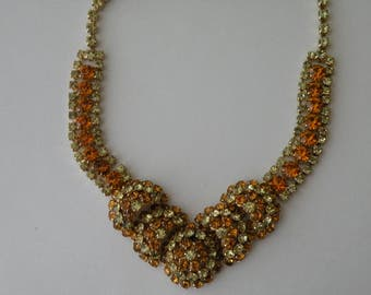 Warner domed necklace, topaz. yellow jonquil rhinestone gold tone metal necklace