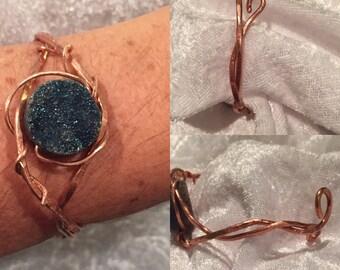 Druzy Copper Wire Wrap Bracelet , Hand Crafted bracelet, Druse Jewelry