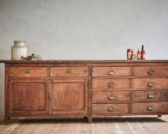 19th Century Vintage Industrial Large Wood Workbench 9' Sideboard Kitchen Island