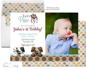 Puppy Party Invitation - Puppy Birthday Invitation - Puppy Party Invite - Puppy Invitation - Puppy Invite - Paw Print Invitation - Dog Party